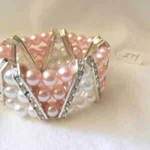 Peach & White  Beads Stretch Rhinestones Bracelet